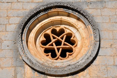 The pentalpha of a rose window Royalty Free Stock Images