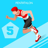 Pentathlon Summer Games Icon Set.3D Isometric Athlete Pentathlete.Olympics Modern Pentathlon Running Swimming Shooting Fencing. Equestrian Sporting Competition Royalty Free Stock Images