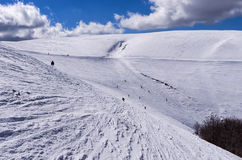 Pente de Milou au centre de ski de 3-5 Pigadia, Naoussa, Grèce Photo stock