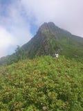Pente de montagne avec des funiculaires et des pentes de ski un jour nuageux d'été, brouillard, nuages Montagne noire de pyramide photos libres de droits
