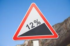 Pente de route 12 pour cent Photographie stock libre de droits