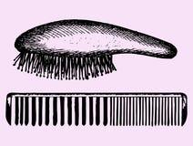 Pente do cabelo, pente da escova de cabelo Fotos de Stock Royalty Free