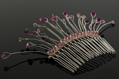 Pente nupcial cor-de-rosa do cabelo Fotos de Stock