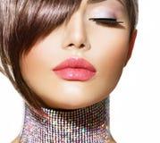 Penteado. Beleza Girl modelo imagem de stock