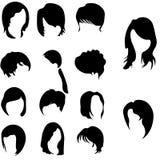 Penteado das silhuetas, da mulher e do homem do cabelo da Web ilustração do vetor