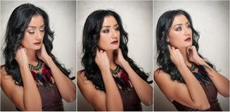 Penteado e composição - retrato fêmea lindo da arte com olhos bonitos elegance Morena natural genuína no estúdio imagens de stock royalty free