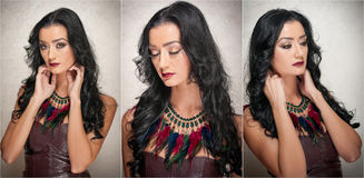 Penteado e composição - retrato fêmea lindo da arte com olhos bonitos elegance Morena natural genuína no estúdio fotografia de stock royalty free