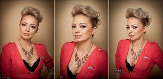 Penteado e composição, retrato fêmea lindo da arte com olhos bonitos elegance Louro natural genuíno com cabelo curto no estúdio Imagens de Stock Royalty Free
