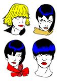 Penteado, faces da mulher Fotos de Stock