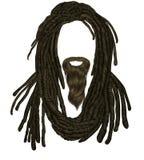 Penteado indiano do sadhu com barba Dreadlocks do cabelo Avatar engraçado Imagem de Stock