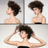 Penteado ondulado do volume da forma collage fotos de stock
