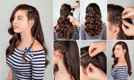 Penteado para o curso longo do cabelo imagem de stock