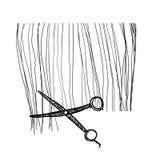 Penteado tirado mão haircut ilustração stock