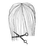 Penteado tirado mão haircut ilustração royalty free