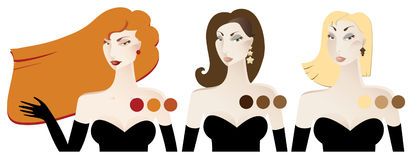 Penteados das mulheres ilustração stock