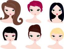 Penteados para mulheres Fotografia de Stock