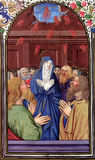 Pentecost - The Coming of the Holy Spirit. Biblical theme - New Testament - Acts of Apostles 2:3. Reproduction of an illustration from Breviary, Lorraine (circa Royalty Free Stock Images