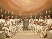 Pentecost. The Descent Of The Holy Spirit. These images are public domain. Illustration for the Emperor Nicholas 1. Paris 1841 stock illustration