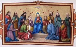 Pentecost, the descent of the Holy Spirit. Fresco in the church of Saint Matthew in Stitar, Croatia royalty free stock images