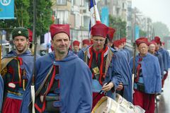 Koksijde, West Flanders Province, Belgium, June 10, 2019: marching up of people wearing the French Zoeavens uniform stock photography