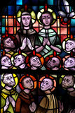 Pentecost in stained glass. A photo of a the Pentecost in stained glass royalty free stock photo