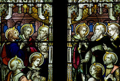 Pentecost in stained glass. Stained glass window of the pentecost Royalty Free Stock Photography