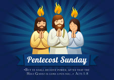 Pentecost sunday banner. Template card on the day of Pentecost as the Apostles praying with tongues of fire above them and text Acts 1:8 Stock Photos