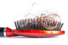 Penteie o cabelo com topetes, pacote do cabelo, lotes do cabelo no fim da escova de cabelo acima em um branco Fotos de Stock Royalty Free