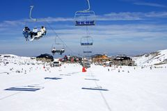 Pentes de ski de station de sports d'hiver de Pradollano en Espagne Photos stock