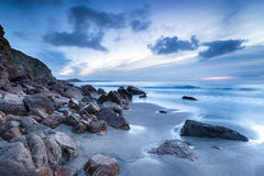 Pentewan piaski w Cornwall Zdjęcia Stock
