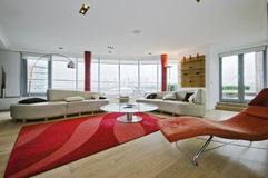Penthouse. Luxury penthouse apartment with designer modern furniture Royalty Free Stock Photography