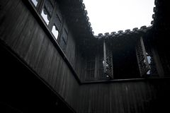 Penthouse of ancient Chinese wooden building Royalty Free Stock Images