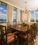 Penthouse dining room with view new york city Stock Image