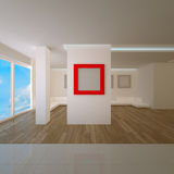 Penthouse interior with red board Royalty Free Stock Photo