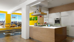 Penthouse kitchen Stock Photos