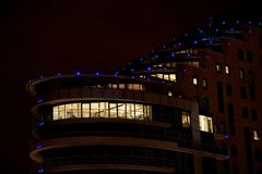 Penthouse in Putney Wharf Tower by night Royalty Free Stock Photo