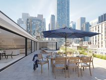 Penthouse terrace in a big city. 3d rendering Stock Image