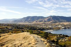 Penticton Okanagan Valley British Columbia Canada. View of the City of Penticton from Munson Mountain. Penticton is a small city located  in the Okanagan Valley Stock Images