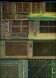pentium4_northwood_compare_of_etching_and_lapping_with_microscope Stock Photos