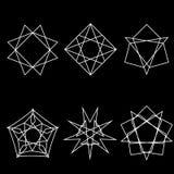 Pentogramm för uppsättning för modell för geometrisk för modellsymbolsstjärna starsAstrology för astrologi geometrisk Royaltyfria Foton