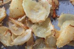 Pentola con i pezzi di frittura della cipolla Fotografia Stock
