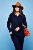 Pentola del vestito dell'abbigliamento del cashmere della lana di posa di fascino del modello di moda della donna Fotografia Stock Libera da Diritti