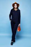 Pentola del vestito dell'abbigliamento del cashmere della lana di posa di fascino del modello di moda della donna Fotografia Stock