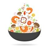 Pentola del wok, pomodoro, paprica, pepe, fungo, gamberetto Alimento asiatico Verdure di volo con frutti di mare Illustrazione pi illustrazione di stock