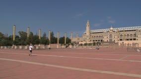 Pentola della plaza di Estadio Olympico, Barcellona, Spagna archivi video