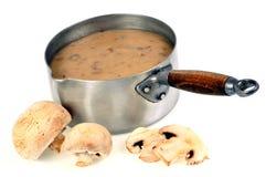 Pentola della zuppa di fungo immagine stock