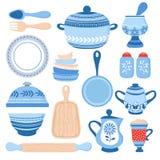 Pentole ceramiche delle terrecotte Ciotole, piatti e piatti blu della porcellana La cucina foggia la raccolta di vettore royalty illustrazione gratis