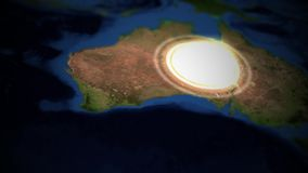 Pentole della macchina fotografica sopra l'Australia con lo scoppio nucleare illustrazione di stock