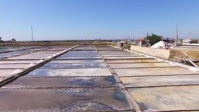 Pentole storiche del sale a vista aerea di Aveiro, Portogallo archivi video