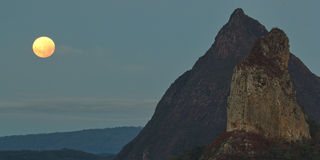 Penumbral Lunar Eclipse at Glasshouse Mountains Royalty Free Stock Image